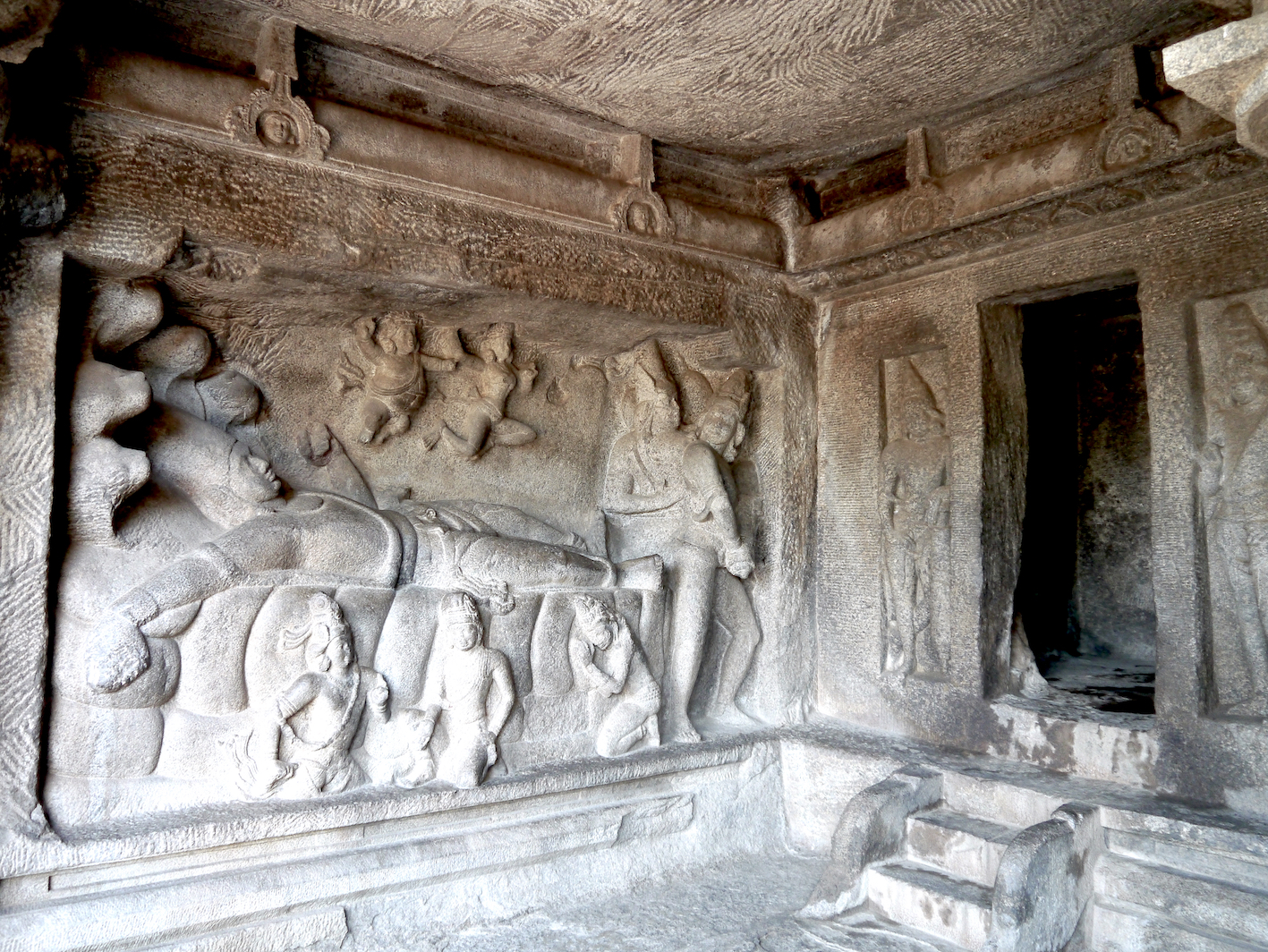 Vishnu Reclining on the Serpent Bed (Sheshanaag) and Dreaming the World, 7 c. CE, cave temple, Mahabalipuram, Tamilnadu